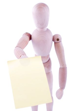 reminding: dummy with reminding note isolated on white background