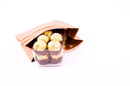 chocolate gift package isolated on white background photo