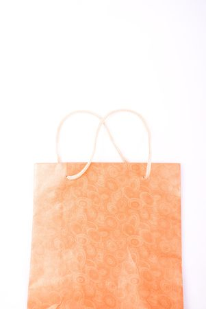 golden brown gift bag isolated on white Stock Photo - 3991450