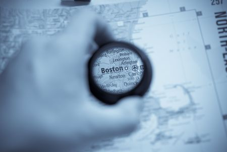 Selective focus on antique map of Boston photo