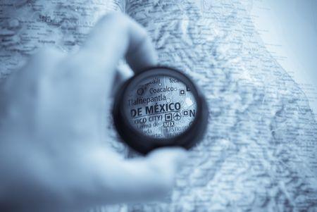 Selective focus on antique map of De mexico Stock Photo - 3991461