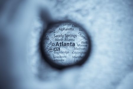 Selective focus on antique map of Atlanta photo