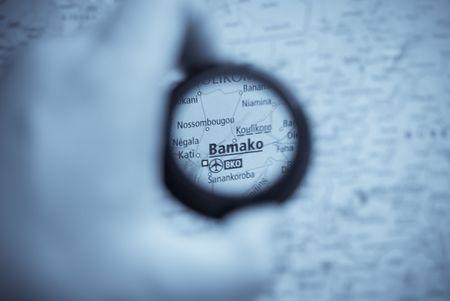 bamako: Selective focus on antique map of Bamako Stock Photo