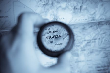 Selective focus on antique map of Nigeria