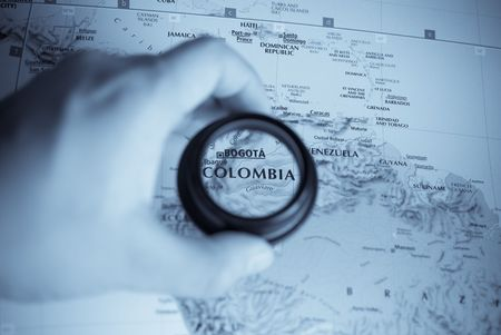Selective focus on antique map of Colombia photo