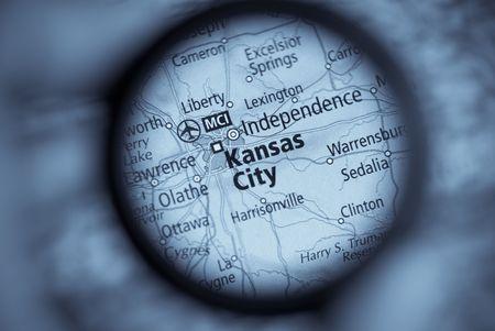 カンザス シティの旧式な地図選択と集中