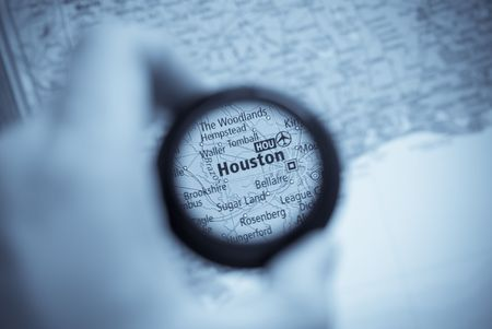 Selective focus on antique map of Houston photo
