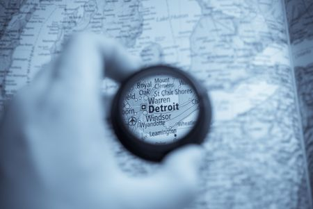 medium close up: Selective focus on antique map of Detroit Stock Photo