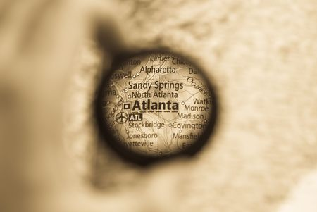 Selective focus on antique map of Atlanta Stock Photo - 4021787