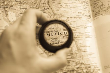Selective focus on antique map of Mexico