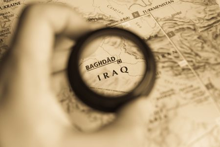 Selective focus on antique map of Iraq photo
