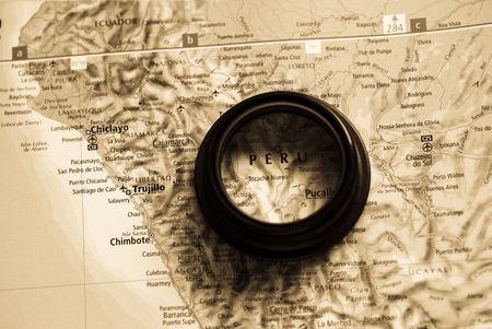 Selective focus on antique map of Peru