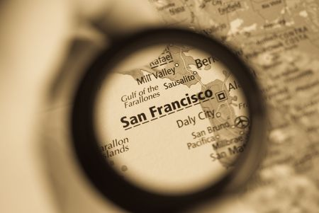 Selective focus on antique map of San Francisco photo
