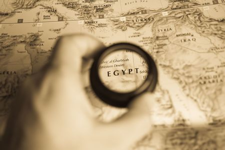 Selective focus on antique map of Egypt Stock Photo