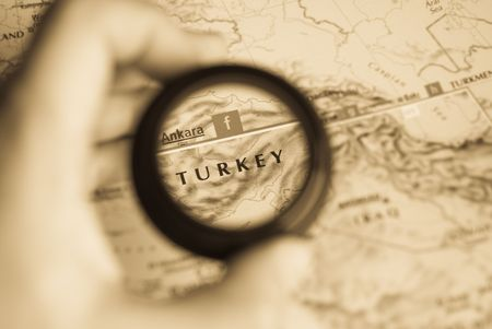 Selective focus on antique map of Turkey photo