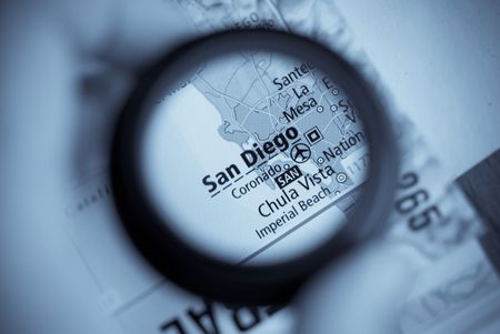 Selective focus on antique map of  San Diego