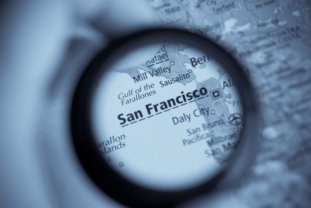 Selective focus on antique map of San Francisco
