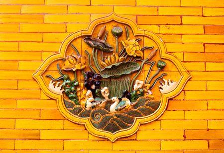 北京紫禁城で壁外装装飾 写真素材