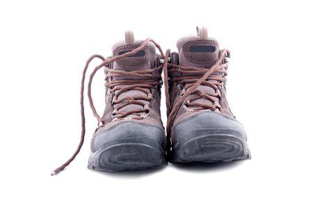 男性の白い背景で隔離の靴のハイキング 写真素材