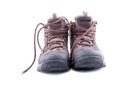 men hiking shoe isolated on white background photo