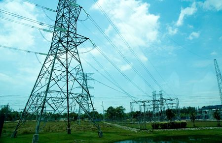electricity supply power station landscape under blue sky Stock Photo - 4420238