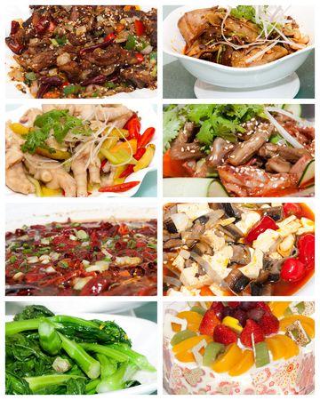 レストランのテーブルに白い板で美味しい中国料理します。