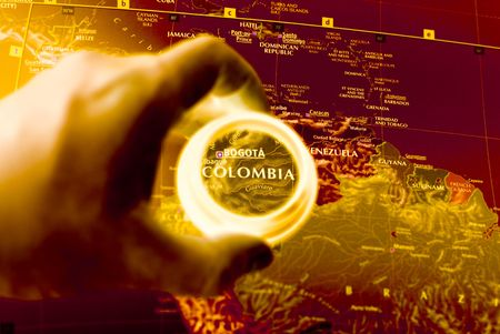 vacation map: Selective focus on antique map of Colombia