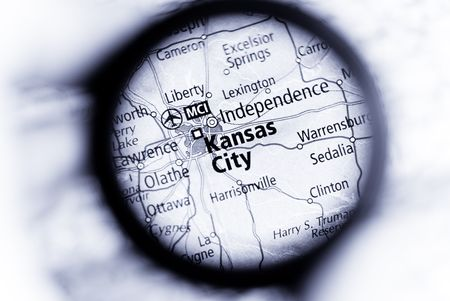 Selective focus on antique map of Kansas City