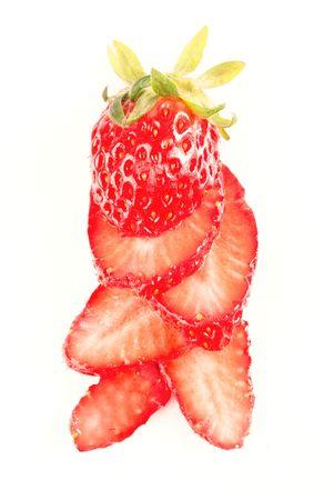 fresh juicy strawberry isolated on white photo