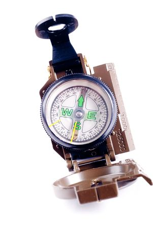 Brown metal military compass isolated on white background Stock Photo - 4563414