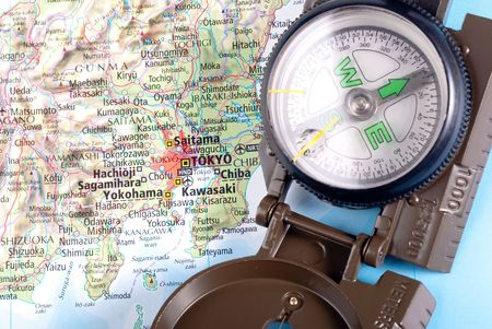 steel compass on travel map of Tokyo Stock Photo - 4563453