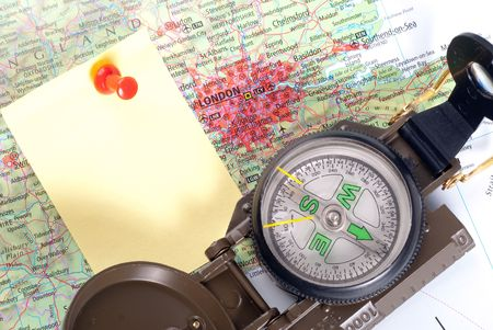 steel compass on travel map of London Stock Photo - 4580720