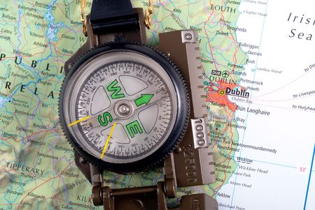 steel compass on travel map of Dublin Stock Photo - 4580721
