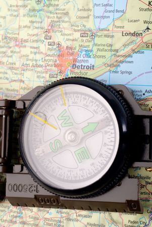 steel compass on travel map of detroit Stock Photo - 4580709