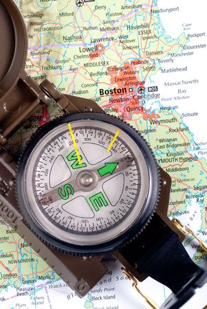 steel compass on travel map of Boston Stock Photo - 4580764