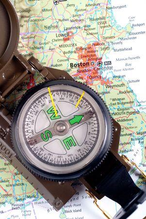 steel compass on travel map of Boston Stock Photo - 4580764