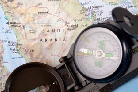 steel compass on travel map of Saudi Arabia Stock Photo - 4580704