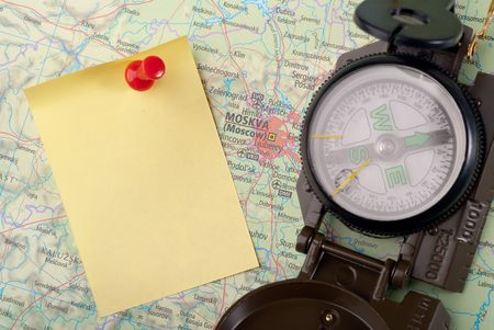 steel compass on travel map of Moscow Stock Photo - 4580714