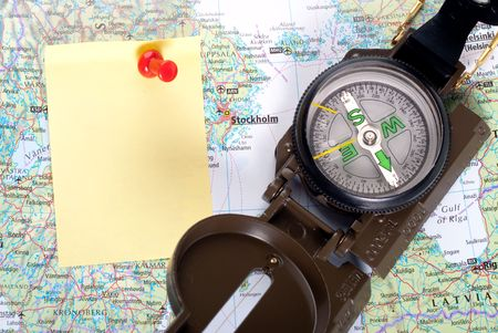 steel compass on travel map of Stockholm Stock Photo - 4580719