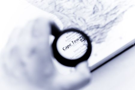 Selective focus on antique map of cape town photo