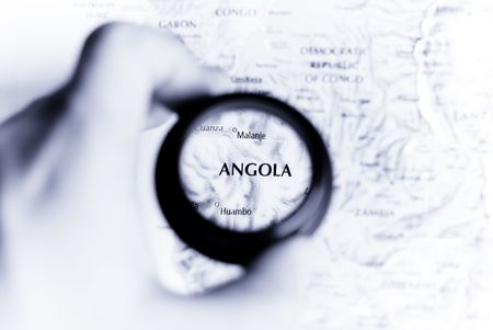 Selective focus on antique map of Angola