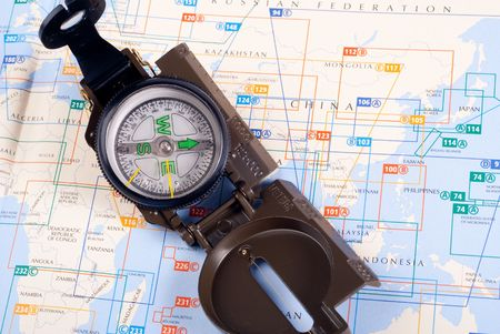 steel compass on travel map of China Stock Photo - 4582224