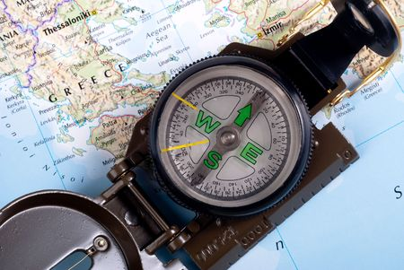 steel compass on travel map of Greece Stock Photo - 4582225