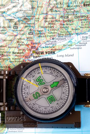steel compass on travel map of new york Stock Photo - 4582230