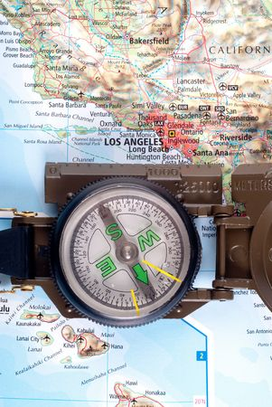 steel compass on travel map of Los Angeles Stock Photo - 4582234