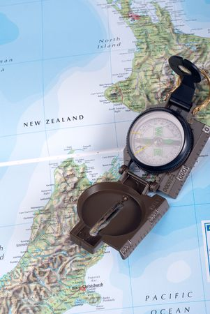 steel compass on travel map of new zealand Stock Photo - 4618873