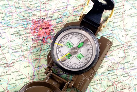 steel compass on travel map of Paris Stock Photo - 4618883
