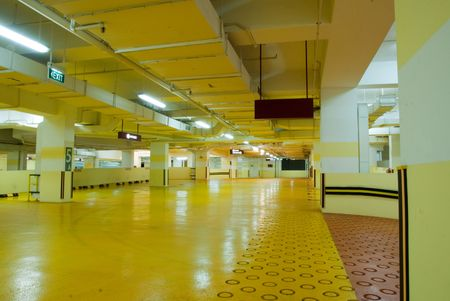 Interior of modern Underground Parking Lot Garage
