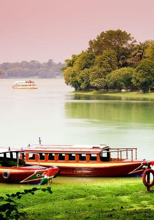 緑の背景で駐車場のボートの湖畔