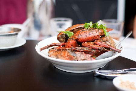 Delicious Chinese seafood dish in white plate